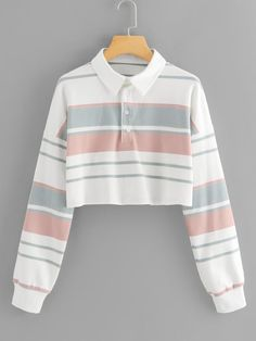 To find out about the Block Stripe Crop Sweatshirt at SHEIN, part of our latest Sweatshirts ready to shop online today! Teen Fashion Outfits, Retro Outfits, Cute Fashion, Trendy Outfits, Girl Outfits, Jugend Mode Outfits, Cute Comfy Outfits, Crop Top Outfits, Sweaters And Jeans