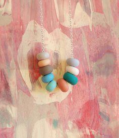 {pretty pastels handmade bead necklace}