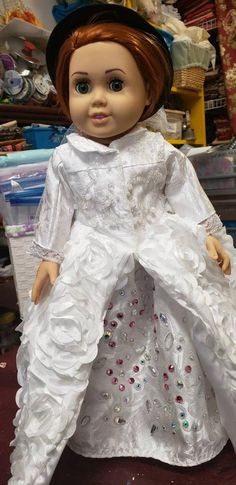 """Blue Bunny Ruffled Nightgown /& Hair Ribbon fits 18/"""" American Girl Doll Clothes"""