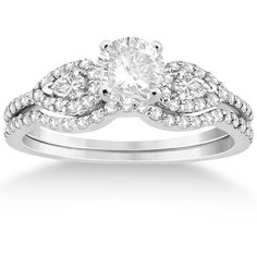 Allurez Pear Shaped Diamond Engagment Ring & Curved Band Palladium (0.46ct) and other apparel, accessories and trends. Browse and shop 8 related looks.
