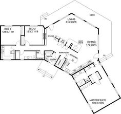 U Shaped Courtyard House Plans | Plan W77135LD: C-Shaped Floor Plan