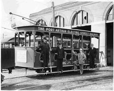 https://flic.kr/p/uYJBQA | The Port Arthur Electric Street Railway | Date: c. 1942 Description: Image of the Port Arthur Electric Street Railway that provided passengers with 9 trips per day between Fort William and Port Arthur. This particular streetcar was made for Dominion Day, 1 July 1942. Four men hang off the outside of the car. Accession No.: 982.71.3 A