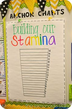 Love this anchor chart that encourages the class to build their reading stamina. and like idea to have area devoted to anchor charts--maybe could hang older ones behind to refer back to. Ela Anchor Charts, Reading Anchor Charts, Anchor Charts First Grade, Kindergarten Reading, Teaching Reading, Reading Lessons, Teaching Ideas, Learning, Teaching Outfits