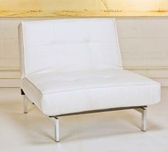"$209 Category: Lounge Chairs  Product: Flip White Lounge Chair  Material: Faux Leather / Chrome Frame  Color/Finish: White  Size: Lounge Chair Position 36"" w x 35"" h & Flat Position 36"" w x 45"" d  Additional Info: Also available in black and sofa in white & black / Lounge Chair can also be converted into an ottoman"