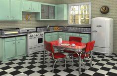 deco cuisine style rétro cuisine vintage, totalement sixties ! frigo laqué, couleurs rouge et vert, sol carrelé de noir et blanc