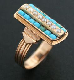 Victorian 18k Pink Gold Turquoise and Seed by EthicallyEnchanted.