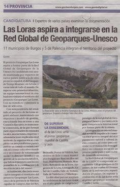 Del 15 al 21 de abril de 2016. Diario Gente en Burgos. Pg. 14. Apartado Provincia: Las Loras aspira a integrarse en la Red Global de Geoparques-Unesco.