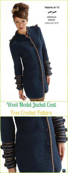 Crochet Edged Model Wool Jacket Coat Free Pattern - Crochet Women Sweater Coat & Cardigan Free Patterns