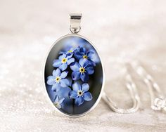 Forget Me Not Silver Necklace  Sterling Silver Flower