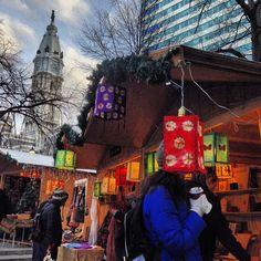 The Christmas Village in Love Park in Philadelphia.