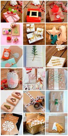 Al envolver los regalos se puede hacer de una forma un poco mas creativa como las de la foto.