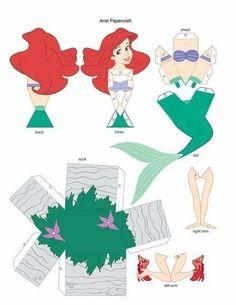 Princesas Disney 3 D Moldes Paper Craft Disney Diy, Disney Crafts, Disney Ideas, Princess Crafts, Disney Princess Party, Little Mermaid Parties, The Little Mermaid, Disney Paper Dolls, Paper Models