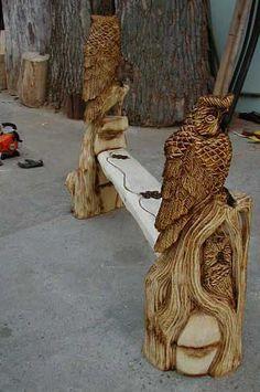 holzeule holz eule eulenbank owlbench kettensäge wood carver, Hause und garten
