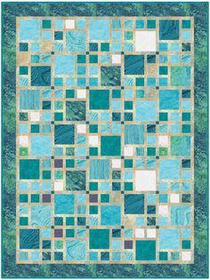 Monochromatic quilt - Walk in the City – Monochromatic quilt Colchas Quilting, Quilting Projects, Quilting Designs, Modern Quilt Patterns, Quilt Block Patterns, Quilt Blocks, Layer Cake Quilt Patterns, Batik Quilts, Blue Quilts