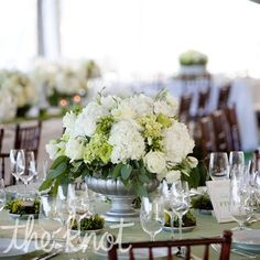 Sage and Champagne Wedding | Silver and White Centerpieces | Sage and Champagne Wedding | Pinterest