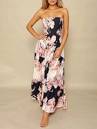 Polychrome Floral Stretch Off Shoulder Beach Maxi Dress