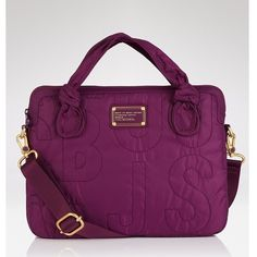 """NWT Marc Jacobs Media Crossbody Price is my lowest. This media Crossbody is a dark and rich purple color. Its the perfect size to carry whatever electronics you need and some everyday essentials. It's a nylon material and the inside is soft and fuzzy. There's an outside pocket and two handles as well. 14"""" L, 10"""" H. NWT Photo Credit: lyst.com Marc by Marc Jacobs Bags Crossbody Bags"""