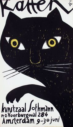 BIG 'OL BLACK CAT WITH GREEN EYES. 21: Poster by Dick Elffers - Katten : Lot 21
