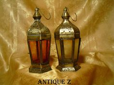 19th century set of two two ottoman, byzantine, persian, islamic, arabique, hanging brass lanterns, lamps, candle holders, antique by AntiqueBoutiqueZ on Etsy