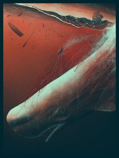"""""""Descent Into Madness"""" - Variant Part of PangeaSeed's print suite """"Tales from the Deep: Stories, Myths & Monsters"""" - a fine art print suite to help save our seas. by Marko Manev Myths & Monsters, Sea Monsters, Hunter Tattoo, Whale Tattoos, White Whale, Whale Art, Print Release, Pop Culture Art, Whale Watching"""