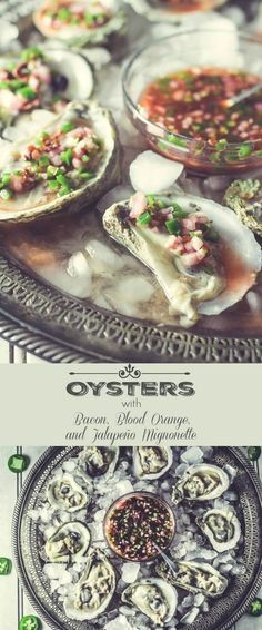 Oysters on the Half Shell With Bacon, Blood Orange, Jalapeno Mignonette - A spectacular Mexican-inspired but still French mignonette to spoon over perfect little bites of the ocean (aka oysters)! Valentine's Day dinner | oysters on the halfshell | fresh seafood recipes | fresh oysters | mignonette recipes