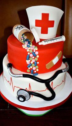Nursing School Graduation Cake - Tendance et Populaire Nursing Graduation Cakes, Nurse Grad Parties, Nurse Party, Graduation Ideas, Medical Cake, Doctor Cake, School Cake, Retirement Cakes, Graduate School