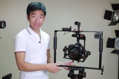 CineRebels rockBuster camera rig is a compact hand-held 2-axis camera gimbal / camerahead (pan stabilizer optional.)