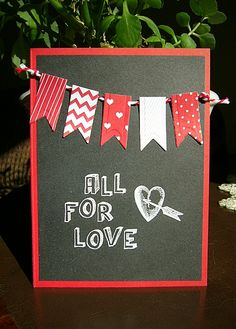 handmade Valentine card :) great way to use up scraps on the banner (Cupcake Toppers die/rubber stamps from amuse studio)