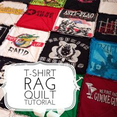 I wanted to share with you all a t-shirt quilt that I made as my husband's Christmas gift. I used all of his old punk rock t-shirts that he had saved over the years. It's a simple tutor…