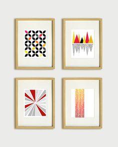 Bold Graphic Geometric Wall Decor - Mountain Reflection Art Print - Black, Red, Orange, Yellow - 8x10. $20,00, via Etsy.