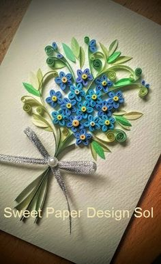 Paper Quillied Forget me not Flower Bouquet Wedding
