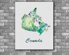 Canada Map watercolor  Art Print instant by digitalaquamarine