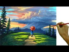 Acrylic Landscape Painting Tutorial / Lady Waiting for Thunderstorm / JM. Mountain Paintings, Nature Paintings, Landscape Paintings, Acrylic Landscape Painting, Acrylic Painting Lessons, Acrylic Painting Tutorials, Painting Videos, Painting Art, Rock Painting Ideas Easy