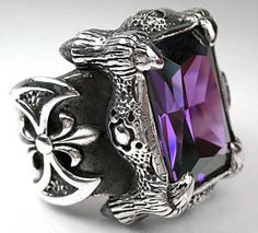 Amethyst Dragon Claw Ring - I'd wear this in a second.