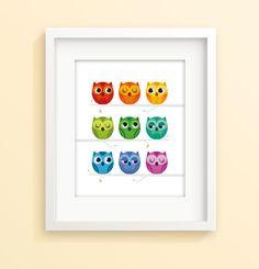 Rainbow owl print nursery print nursery decor by IreneGoughPrints