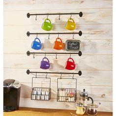 Coffee Mug Wall Rack, Coffee Cup Storage, Mug Storage, Coffee Mug Display, Coffee Mug Holder, Mug Rack, Kitchen Storage, Coffee Cups, Storage Rack