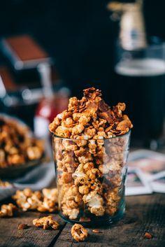 sriracha caramel bacon popcorn