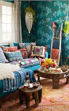 ⋴⍕ Boho Decor Bliss ⍕⋼ bright gypsy color & hippie bohemian mixed pattern home decorating ideas - Layered African indigo textiles with vintage Peruvian and kilim pillows   One King's Lane