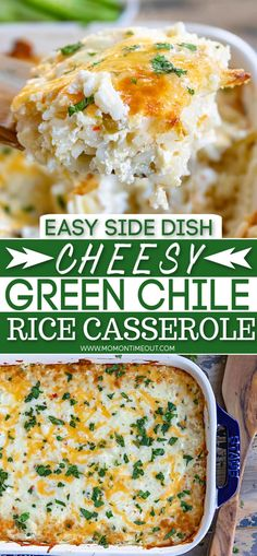 This easy Cheesy Green Chile Rice Casserole recipe has just FOUR ingredients and is sure to be your new favorite side dish! Easy to make, delicious and inexpensive too! An easy side dish that is pure comfort food! Add in some rotisserie chicken and dinner is done! // Mom On Timeout #sidedish #rice #casserole #cheese #greenchile Rice Dishes, Casserole Dishes, Casserole Recipes, Food Dishes, Easy Chicken Rice Casserole, Hamburger Casserole, Side Dishes Easy, Side Dish Recipes, Dinner Recipes