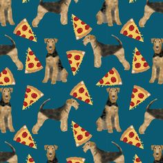 airedale terrier dog fabric cute dogs food funny pizza fabric - sapphire blue by petfriendly