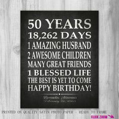 50th BIRTHDAY Party Gift Personalized 50 By PrintsbyChristine Husband Birthday Ideas Sayings