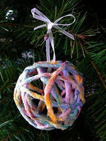 The Magic Onions :: A Waldorf Inspired Blog: Make Sparkly Yarn Ornaments.
