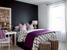 Stylish Apartment Living - eclectic - bedroom - atlanta - by Dayka Robinson Designs Cama Chevron, Chevron Bedding, Purple Bedding, Chevron Desk, Ikat Bedding, Yellow Bedspread, Geometric Bedding, Chevron Quilt, Ikat Pillows