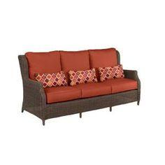 Brown Jordan Vineyard Patio Sofa in Denim with Bazaar Lumbar Pillows-M11097-S-12 at The Home Depot