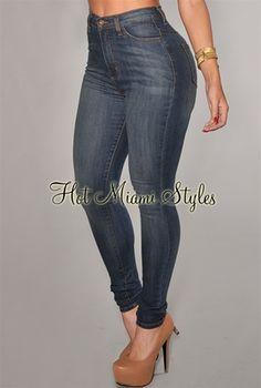 Medium Denim Whisker Wash High-Waist Skinny Jeans