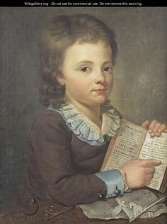 """Portrait Of A Young Boy Reading The Fables Of La Fontaine"" by Ecole Francaise, Xixeme Siecle"