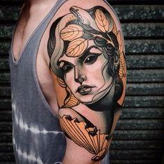 Dark Eyed Fan Girl tattoo: