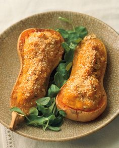 Twice-Baked Butternut Squash | Martha Stewart Living - To serve, nestle the baked squash into a handful of mache or other tender salad greens.