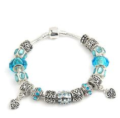 Aliexpress Hot Sell European Style 925 Silver Crystal Charm Bracelet for Women With Blue Murano Glass Beads DIY Jewelry Sterling Silver Charm Bracelet, Silver Charms, 925 Silver, Silver Beads, Silver Earrings, Silver Jewelry, Cheap Bracelets, Beaded Bracelets, Bracelet Charms