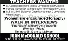 Teachers Wanted - Joan McDonald School Islamabad  http://www.dailypaperpk.com/jobs/178590/teachers-wanted-joan-mcdonald-school-islamabad